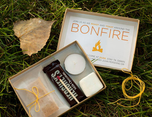 If you want to learn how to throw a bonfire party, consider sending invitations filled with treats.