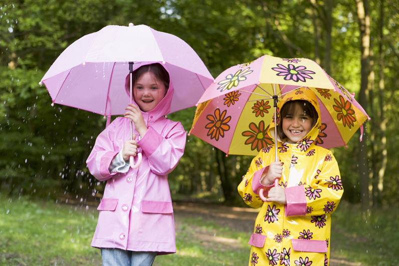 Children having fun on a rainy day.