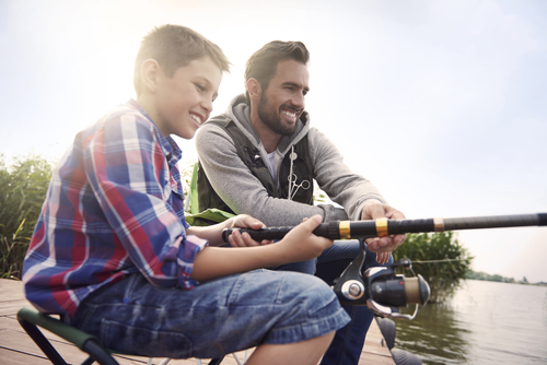 Father and Son Fishing in Brainerd
