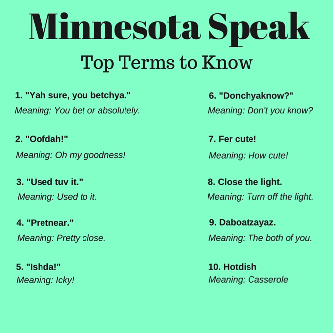Minnesotan Slang to know on your next Minnesota vacation
