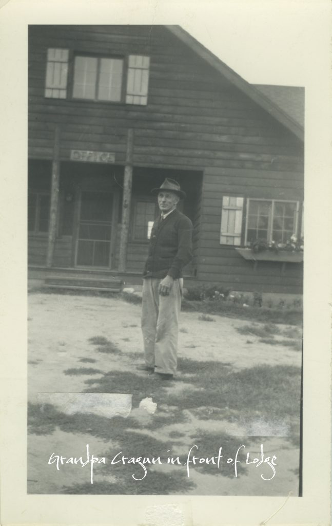 Grandpa Cragun in front of Lodge in 1940s
