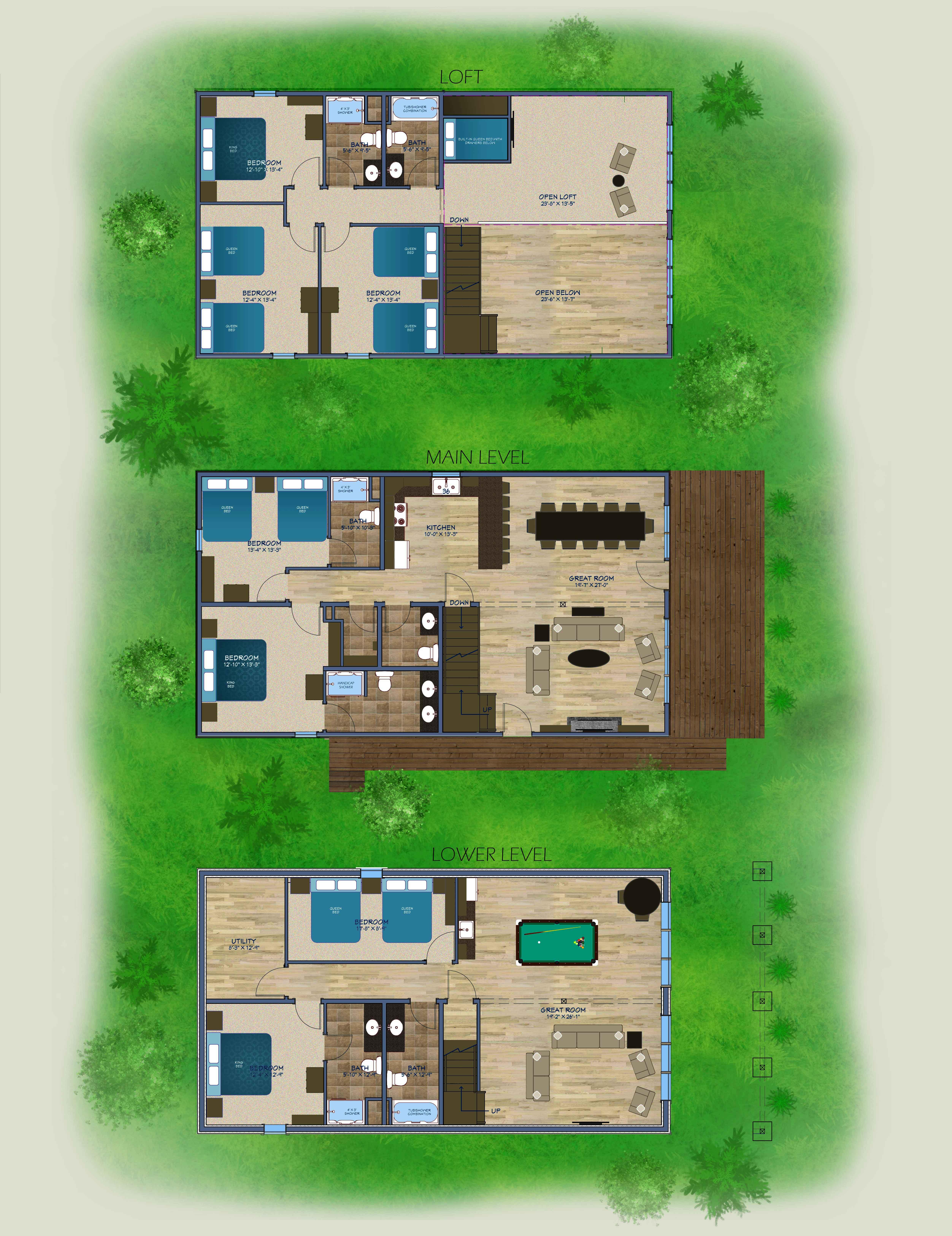 Rendering of new Brainerd cabin floor plan