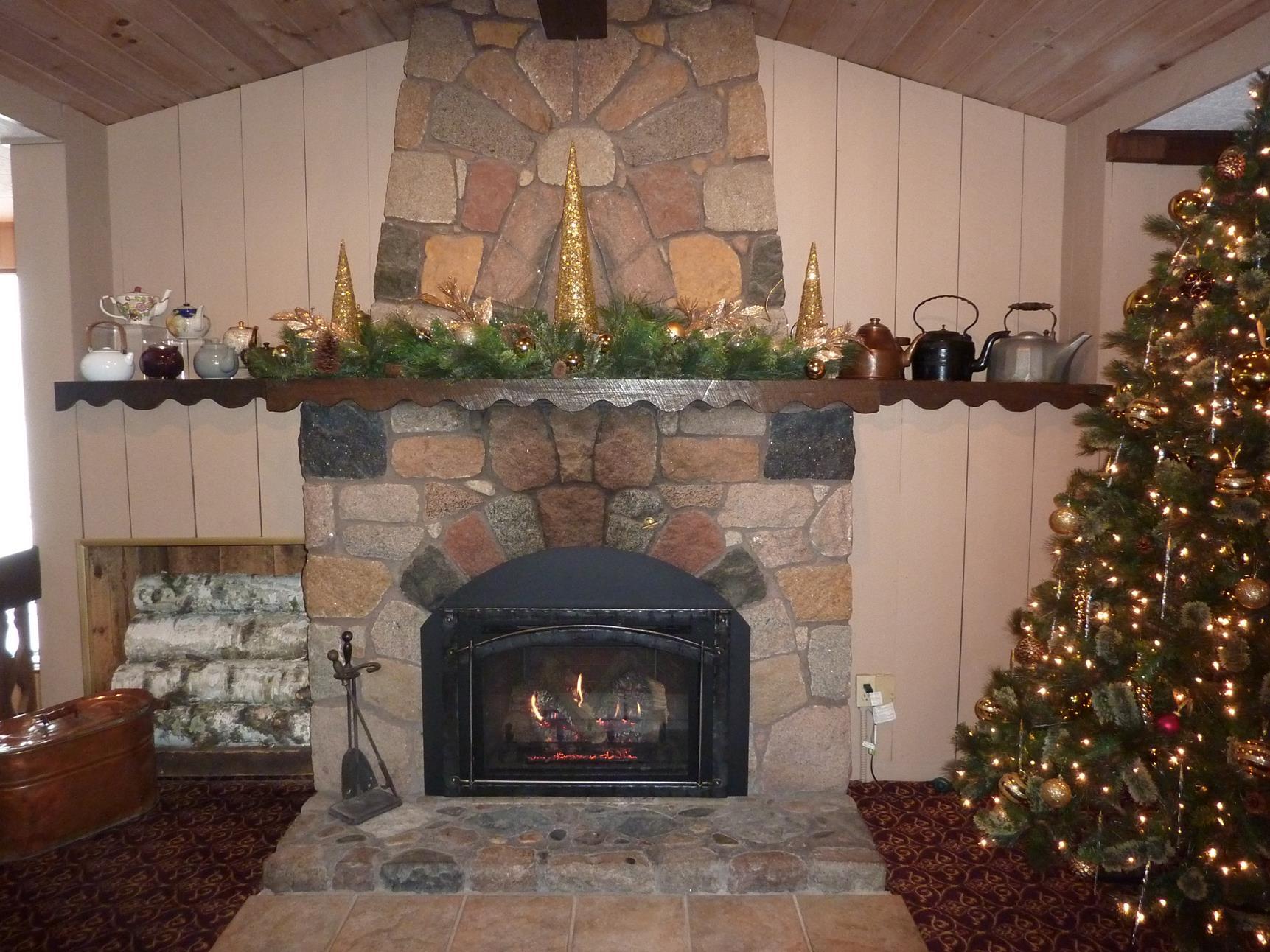 Cozy fireplace room at Cragun's Resort