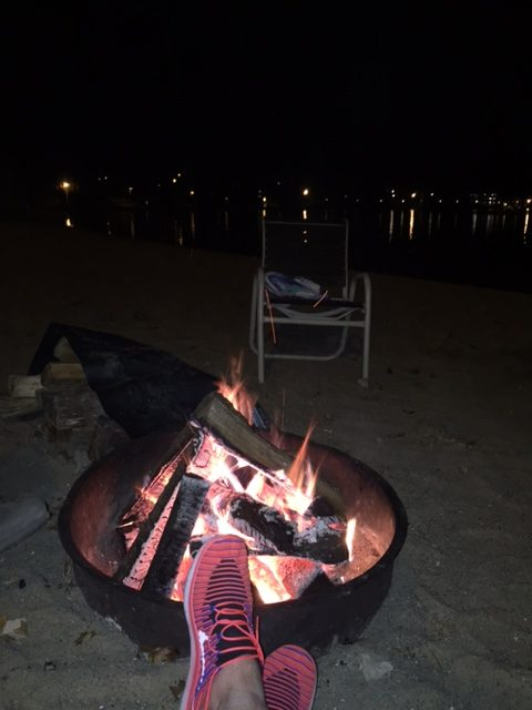 Relaxing by the lakeside bonfire at Cragun's Resort in Brainerd, Minnesota