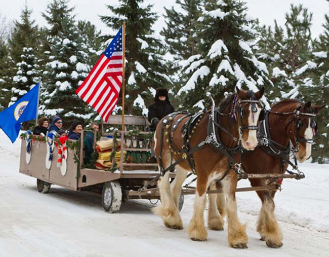 Winter Horse Drawn Trolley Rides at Cragun's