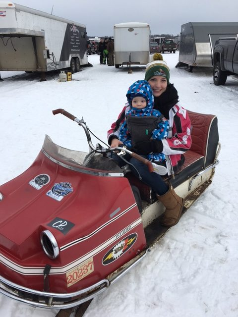 baby's first Lake Vintage One Lunger 100 snowmobile race held at Cragun's Resort in Brainerd, Minnesota