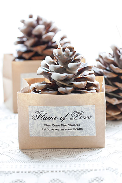 winter-wedding-favors-pinecone-fire-starter-evermore