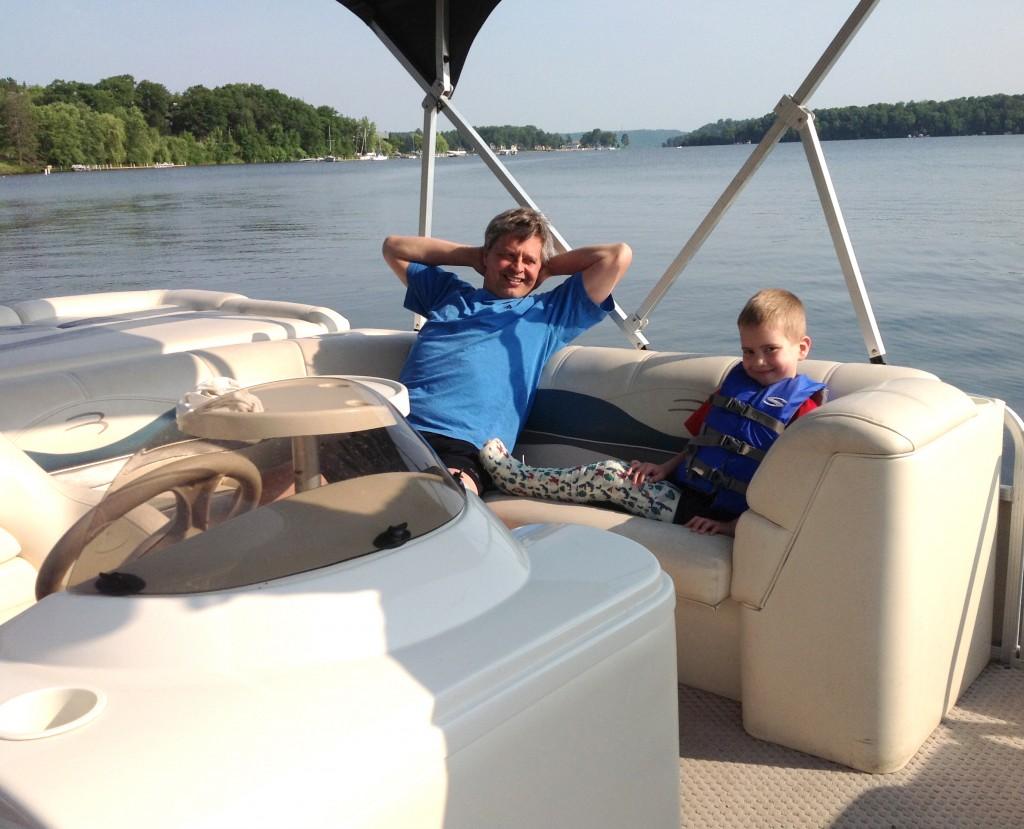 Hanging out on the pontoon at Cragun's Resort on Gull Lake