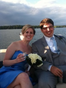 Photo of my wife and I at the wedding at Cragun's Resort on Gull Lake