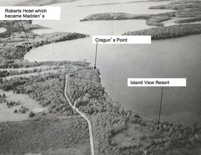 Historic aerial photo of Brainerd Resort, Cragun's Resort, Roberts Hotel which became Madden's and Island View Resort