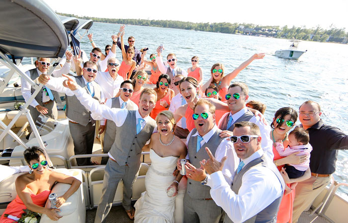 Wedding party having fun at Cragun's Resort on Gull Lake
