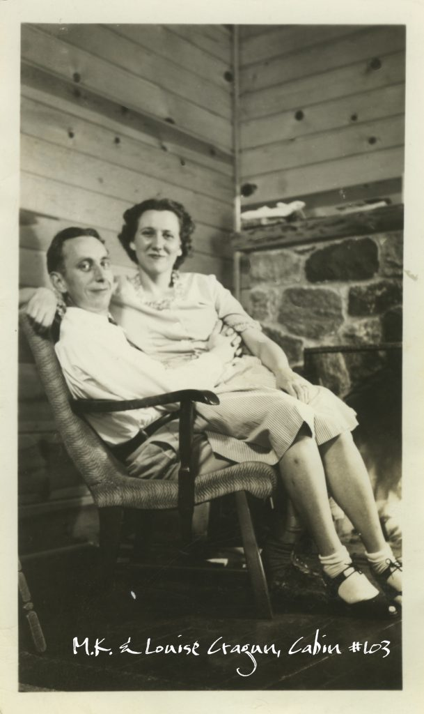 Merrill Cragun, Sr. and Louise Cragun enjoying their newly built Cabin #103 at Cragun's Resort in Minnesota