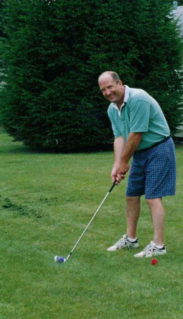 Practicing golf swing at Cragun's Resort in Brainerd