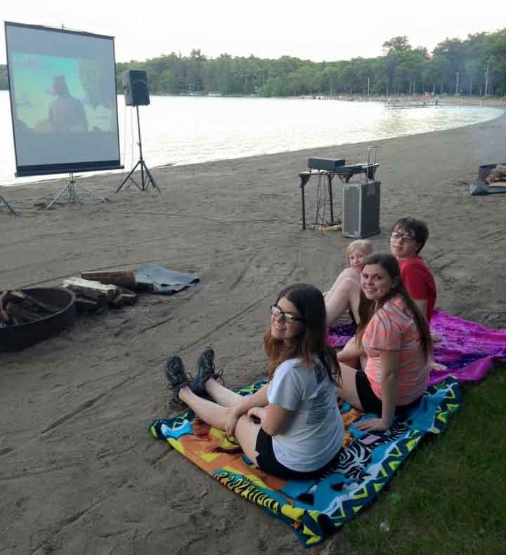 Movies on the beach at Cragun's Resort on Gull Lake