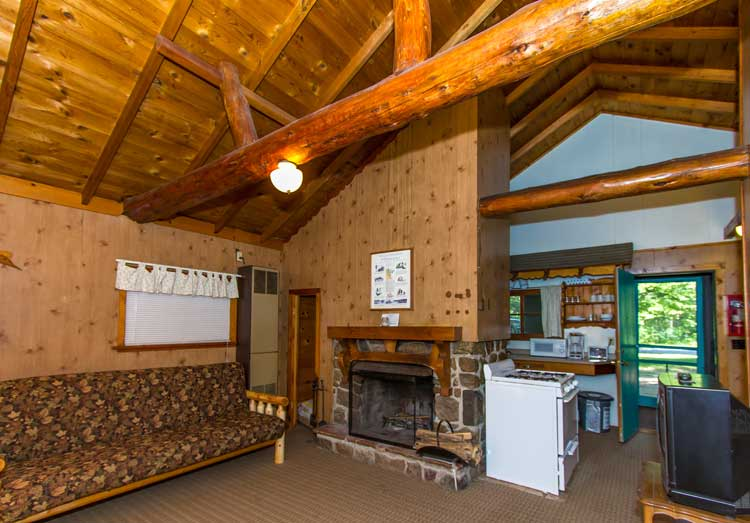 Rustic Brainerd cabin with fireplace at Cragun's Resort