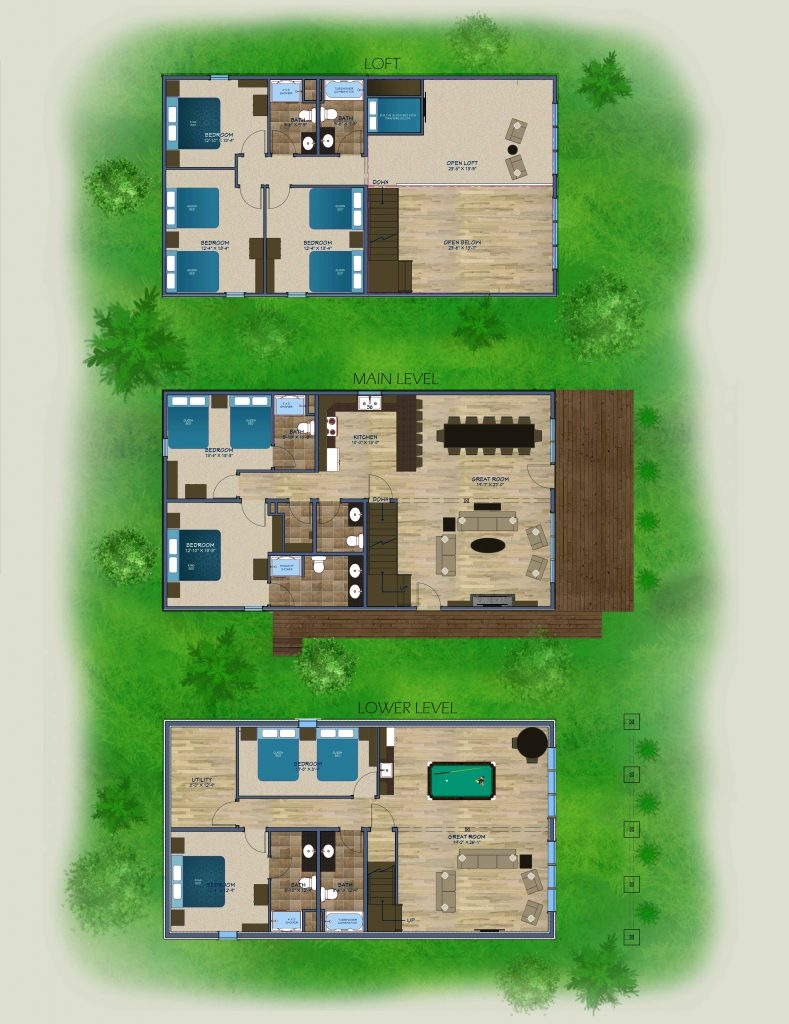 Rendering of new Brainerd cabin floor plan