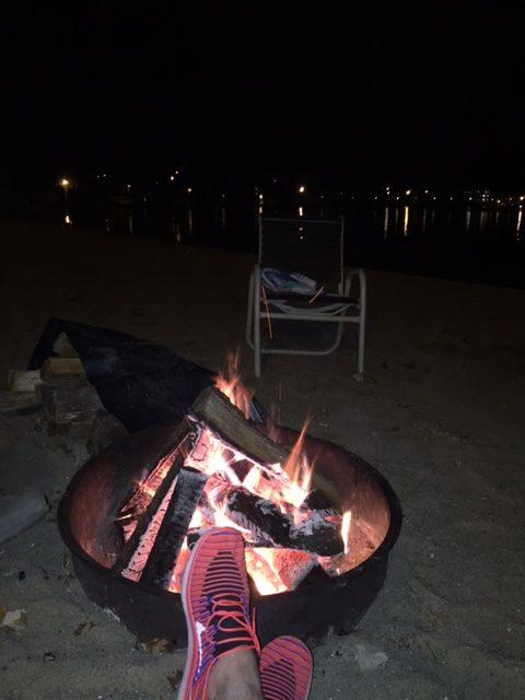 Relaxing by the lakeside bonfire at Cragun's Resort in Brainerd, Minnesota