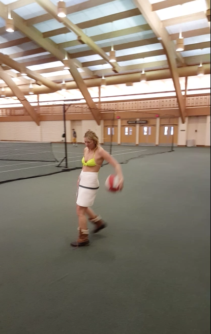 Playing HORSE at Cragun's Resort's indoor Sports Centre