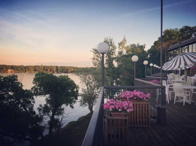Poolside deck overlooking Gull Lake at Cragun's Resort in Brainerd, MN