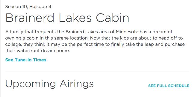 HGTV Lakefront Bargain Hunt Show Brainerd Lakes Cabin