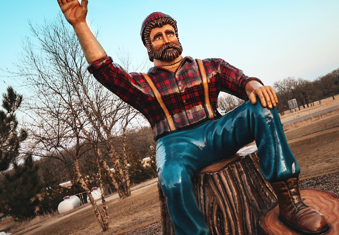 Top 10 things to do in Brainerd MN this summer is Paul Bunyan statue at Brainerd Welcome Center
