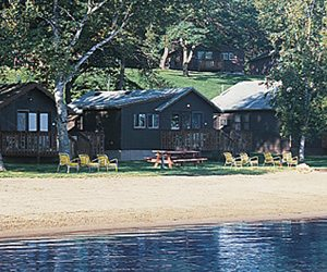 Beach cabins at Cragun's Resort, a top Nisswa resort