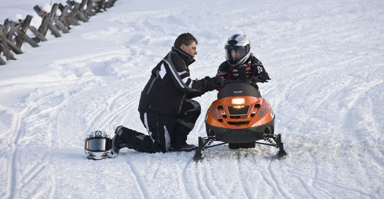 kids snowmobiling  trails and rentals