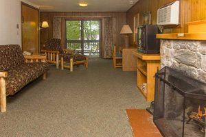 The interior of a hillside cabin at Cragun's Resort, a top Nisswa resort