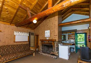 The interior of a rustic cabin at Cragun's Resort, a top Nisswa resort