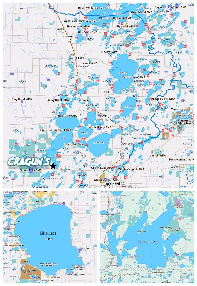 Brainerd mn lakes map details cragun s resort for Minnesota fishing resorts