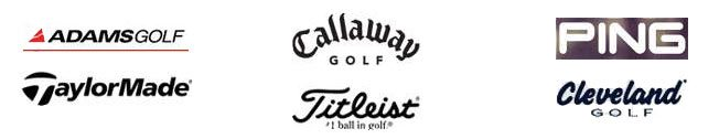 The Adams Golf logo, The TaylorMade golf logo, The Callaway Golf logo, The Titleist logo, The PING logo, The Cleveland Golf logo