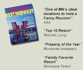 Midwest Living magazine named Cragun's Resort one of the best family reunion destinations.