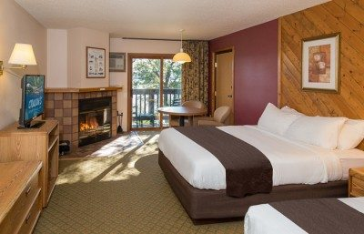 A fireplace room at Cragun's Resort, a leading Minnesota resort