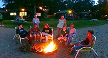 Lakeside bonfire at Cragun's Resort on Gull Lake