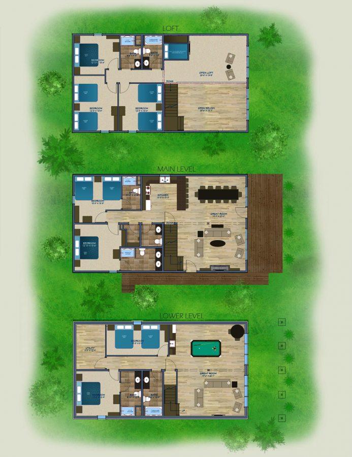 Floor Plan of Bayview Villas at Cragun's Resort