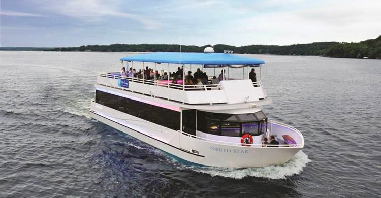 The North Star yacht takes guests for a Gull Lake Cruise at our Brainerd resort
