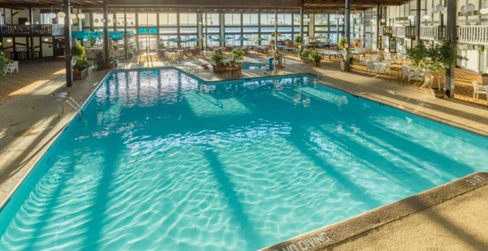 Sun shines through the window on the indoor pool at Cragun's hotel in Brainerd MN