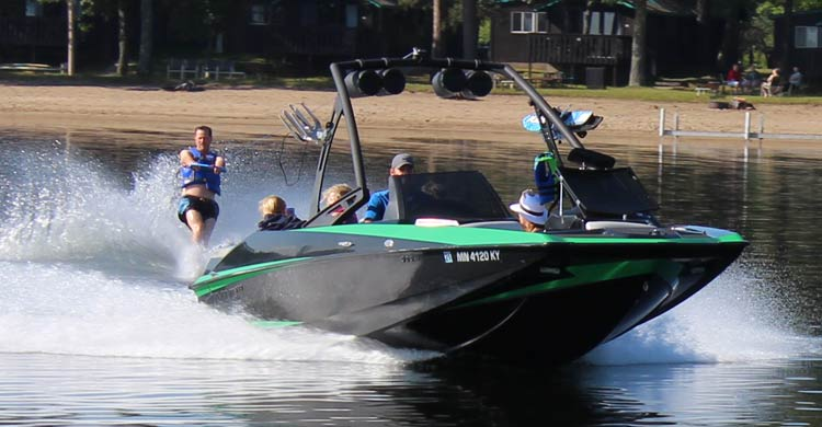 Wakeboard boat available for rent at Cragun's Resort